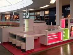 Wooky Entertainment Project: Style Me Up Retail Kiosk Design: Accord Expositions Fabrication: Accord Expositions Place: Natick Mall, Boston Natick Mall, Bookshelf Desk, Kiosk Design, Spa, Diy Tv, Cabinet Decor, Nail Bar, Diy Cabinets, Entertainment Room