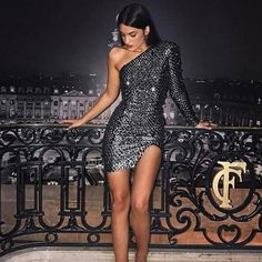 Sparkly One Shoulder Black Short Homecoming Dresses 2019 With Sleeve, - Vestidos Elegant Dresses, Sexy Dresses, Beautiful Dresses, Evening Dresses, Short Dresses, Vegas Dresses, Awesome Dresses, Pretty Dresses, Casual Dresses