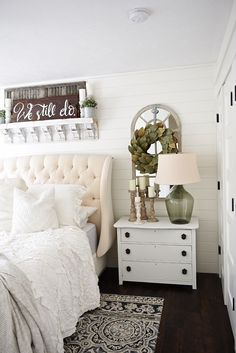 One Horn White Nightstand Makeover - Neutral master bedroom - Nightstand makeover with magnolia home paint in one horn white. A must pin for farmhouse style & cottage style decor! Home Bedroom Design, Home Decor Bedroom, Bedroom Furniture, Bedroom Designs, Diy Bedroom, Bedroom Wall, Bedroom Images, Bedroom Artwork, Bedroom Suites