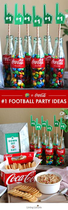 It's not a football party without fun party decorations! Decorate your home with classic Coke glass bottles and these Free Football Party Printables. DIY Football Party and Recipe Ideas. Click for more fun football ideas for hosting your own Homebowl for the BIG game! http://LivingLocurto.com /cocacola/ @RITZcrackers #HomeBowlHeroContest #HomeBowlHero #iworkwithcoke ad