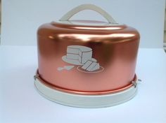 Vintage Copper Tone Cake Keeper Carrier by Mirro in Two by SewTini