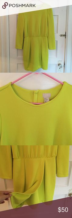 H&M Neon Green Dress - Size 42 Amazing neon green dress from H&M. Heavy polyester fabric that fits like a glove. Perfect for parties, New Years, anything! Worn once. Size 42/12. H&M Dresses