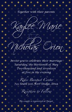 Navy blue and gold polka dot wedding invitation, part of a personalized and printable invitation set on #etsy
