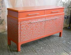 Sydney Barton - Painted Furniture: Orange Asian Style Buffet, silver stencil