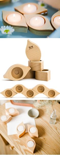 Geometric Wooden Candle Holders / Tea light candle holder. / Wooden Tea Light
