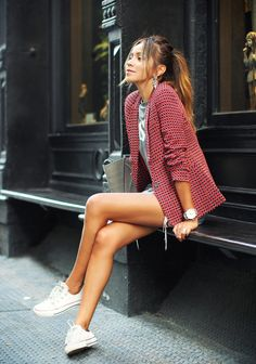 Sincerely Jules - Blazer: Joie, Tee: Zara, Shorts: Vintage Levi's, Sneakers: Converse, Bag: Céline, Earrings: Bauble Bar, Watch: Tsovet