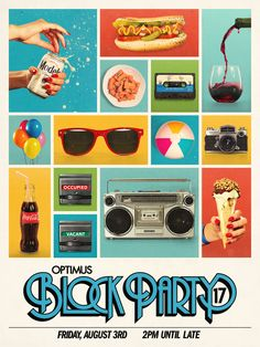 Block Party Poster Layout and Color Pop with Fun Images Web Design, Flyer Design, Print Design, Layout Design, Retro Design, Design Art, Design Ideas, Poster Layout, Poster Poster