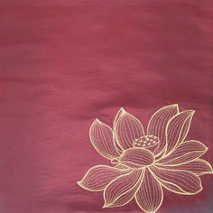 ($14.99) Contemporary Thai Silk Cushion Cover, Gold Embroidered Large Lotus Design, 16