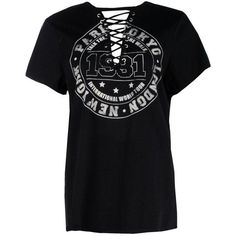 Boohoo Jane Lace Up Distressed Band Tee (€17) ❤ liked on Polyvore featuring tops, t-shirts, shirts, crop t shirt, tee-shirt, jersey t shirt, lace up shirt and polka dot t shirt