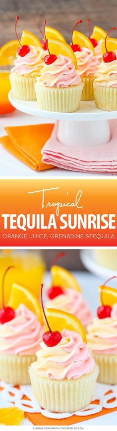 Tequila Sunrise Cupcake Recipe by Lindsay Conchar for Cupcake Flavors, Cupcake Recipes, Baking Recipes, Cupcake Cakes, Dessert Recipes, Dessert Ideas, Healthy Recipes, Cupcake Ideas, Healthy Food