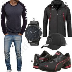 Cooles Männer Outfit mit Ozonee Longsleeve, New Era NY Cap, Fossil Armbanduhr, Puma Sneakern, Geographical Norway Jacke und Designer Jeans.
