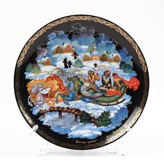 """The work you are holding is """"Winter Troika"""" from the collection series porcelain """"Russian Fairytales"""". The plate was made what is on basis of lacquering original, specially have been created for this collection by Palej painter Medvedev I. The Collection Series, Ceramic Plates, Decorative Plates, Russian Landscape, Russian Winter, Glass Holders, Pattern Making, Fairy Tales, Art Pieces"""
