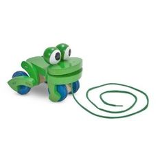 #birthday Melissa & Doug Deluxe Wooden Frolicking Frog Pull Toy