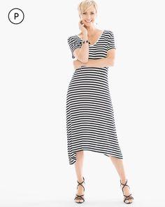 Chico's Women's Petite Striped Tee Dress, Black/White, Size: 3P (16P/18P XL)
