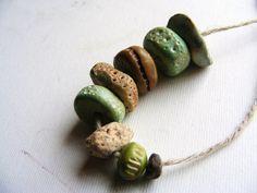 8 Artisan Beads  Sea Urchin handmade clay by greybirdstudio, $25.00