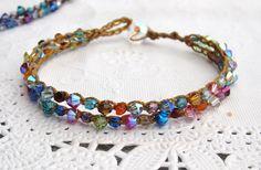 "Crocheted ""tennis"" bracelet www.sydnejo.etsy.com"