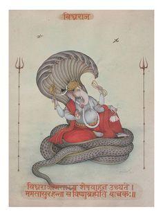 Lord Ganesha on Sheshnag Printed Artwork on Paper - Mahaveer Swami Shri Ganesh, Ganesha Art, Krishna Art, Ganesh Tattoo, Ganesh Idol, Krishna Leela, Hanuman, Om Namah Shivaya, Mantra Tattoo