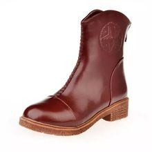 2016 Brand Autumn Winter Women Leather Ankle Boots Low Heel Motorcycle  Cowboy Boots Zipper Round Toe