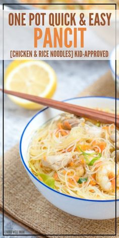 Quick & Easy One-Pot Pancit - Holly Homer - Quick & Easy One-Pot Pancit One-Pot Pancit is a quick and easy rice noodle dinner the whole family will love. With chicken, shrimp, and vegetables, this delicious recipe is gluten-free and kid-approved too! Easy Chicken Recipes, Easy Dinner Recipes, Asian Recipes, Healthy Recipes, Filipino Recipes, Filipino Food, Dinner Ideas, Chicken Treats, Filipino Desserts