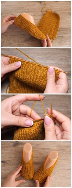 This Easy Slippers Pattern Tutorial gives warmth and has a fair amount of elasticity. Also it is best to make your slippers on the smaller side rather than larger. How To Start Knitting, Knitting For Beginners, Easy Knitting, Knitting Patterns, Crochet Patterns, Crochet Tutorials, Knitting Ideas, All Free Crochet, Learn To Crochet