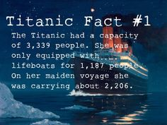 The Titanic had a capacity of 3,339 people.  She was only equipped with..... lifeboats for 1,187 people.  On her maiden voyage she was carrying about 2,206.