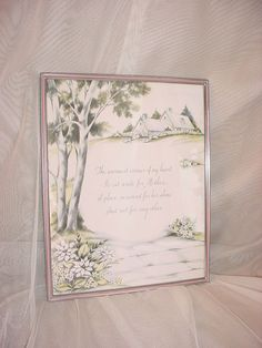 seller florasgarden on ebay Vtg Mother Poem Picture Framed in Pink w House Picket Fence Flowers 8 by 10