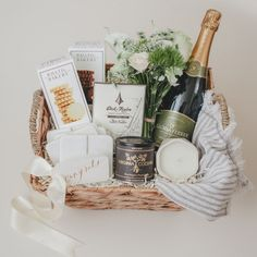 Custom Wedding Gift Basket We love to think outside the box! We were tasked with creating a wedding Housewarming Gift Baskets, Wedding Gift Baskets, Creative Gift Baskets, Diy Gift Baskets, Champagne Gift Baskets, Birthday Presents For Friends, Corporate Gift Baskets, Curated Gift Boxes, Local Advertising