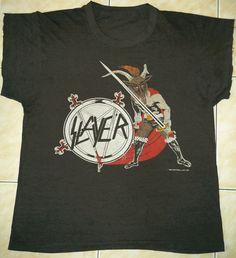 RARE Vintage 86 Slayer 50 50 Haunting The Chapel Death Thrash Metal Tour T Shirt | eBay