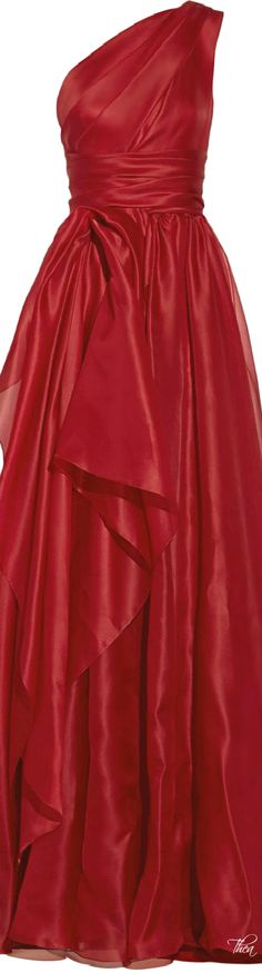 Marchesa one shoulder draped silk ~ Gazar Gown in Red ~~ Lyst jaglady Beautiful Gowns, Beautiful Outfits, Beautiful Life, Red Gown Dress, Drape Gowns, Festa Party, Red Gowns, Glamour, Red Fashion