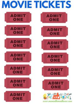 Movie tickets for printing - perfect for a family movie night!