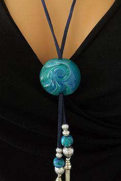 Sautoir fantaisie et unique bleu et vert : Collier par vilicreation