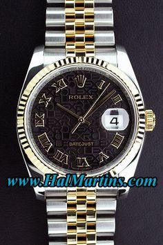 Rolex Datejust 116233 with Black Roman Dial, $7,500.00. www.HalMartins.com