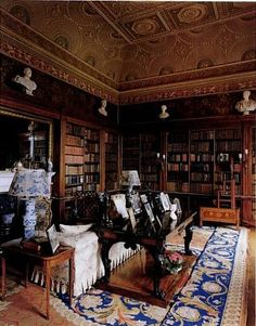 English Country House Library ~ Could be the small sitting room at Cliffmere in THE EXPLORER'S CODE.
