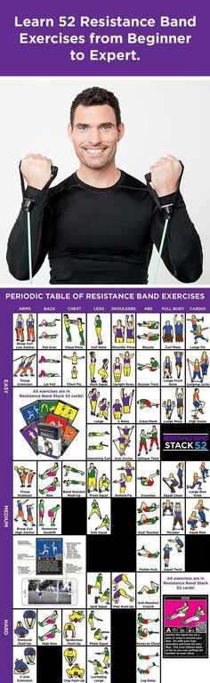 Resistance band workout illustrations.
