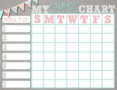 Free printable chore charts chore system free printable chore