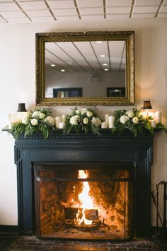 Winter Wedding from Love Me Do Photography Need a fireplace at ur venue even if we have to take mine from my house and transport it to ur venue!Need a fireplace at ur venue even if we have to take mine from my house and transport it to ur venue! Wedding Mantle, Snowy Wedding, Wedding White, Christmas Fireplace Mantels, Painted Fireplace Mantels, Painted Mantle, Fireplace Doors, Fireplace Furniture, Fireplace Hearth