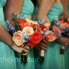 oranges and reds with the sea foam green for reception colors