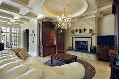 Lovely ornate ceiling and couch!!