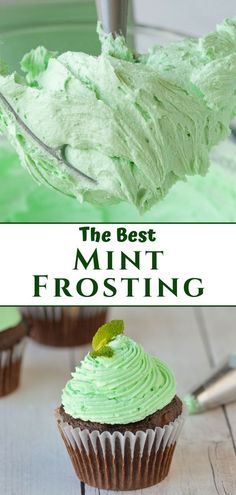 cupcake frosting tips This mint frosting recipe is a simple buttercream frosting that is perfect for cupcakes and cakes! Using only 4 ingredients and one bowl, you can whip up a b Cupcake Frosting Recipes, Easy Buttercream Frosting, Lemon Frosting, Homemade Frosting, Cupcake Cakes, Simple Frosting Recipe, Cupcake Recipes Easy, Keto Cupcakes, Frost Cupcakes