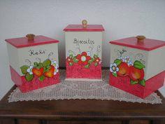 Conjunto de potes para biscoitos e bolachas. Peças em MDF. Pintura Decorativa. Decoupage em Bauer, textura linho. Preço do conjunto r$ 80,00 R$ 80,00