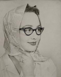 Les Lunettes Noires, c1950. Love the newspaper print head scarf!