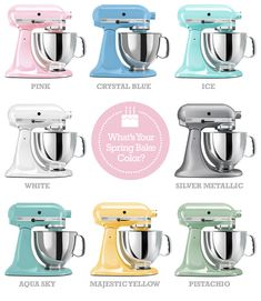 Good Kitchenaid Stand Mixers In Pastels. Crystal Blue, Pink, Majestic Yellow,  Aqua Sky, Ice And Pistachio.