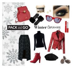 """""""Pack & Go: Winter Getaway"""" by buocz ❤ liked on Polyvore featuring Wild Diva, Giorgio Armani, Victoria Beckham, Kaisercraft, Clarins, Sacai, M.i.h Jeans, Love Moschino, Ted Baker and Tommy Hilfiger"""