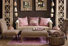 Dusty Rose & Driftwood Living Room