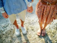 Nice perspective of couples holding hands.