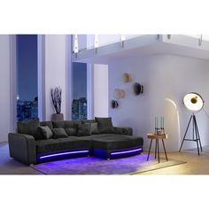 Vintage Wohnlandschaft LAREDO schwarz mit LED Beleuchtung und Soundsystem M bel g nstig und gut