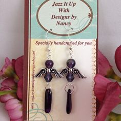 Delicate Pewter Angel Wings Purple Amethyst Swarovski Shell Earrings | jazzitupwithdesignsbynancy - Jewelry on ArtFire