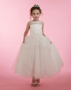 Couture-Designer Girls Dress Style 1992 - Embroidered Sequin Dress with Floral Appliques in Choice o Girls Designer Dresses, White Flower Girl Dresses, Dresses For Less, Bodice, Tulle, Sequins, Couture, Sequin Dress, Wedding Dresses