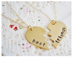 Best Friend Necklace - Split Heart Neckalce - BFF Jewelry - Brass & Gold Filled - Hand Stamped Necklace on Etsy, $53.30 CAD