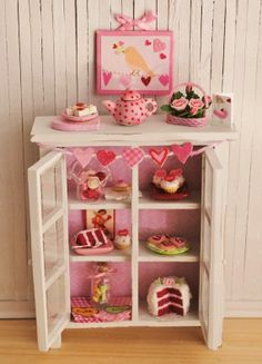 Miniature Shabby Chic Kitchen Cabinet Filled With Red And Pink Sweets - Perfect For Valentine's Day
